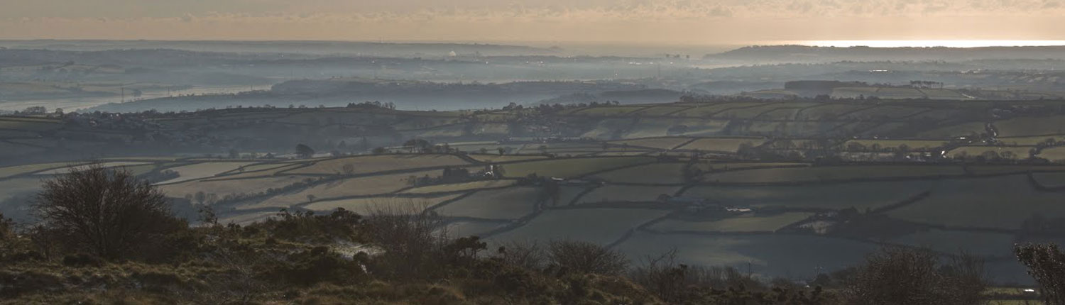 View from Kit Hill callington towards Plymouth